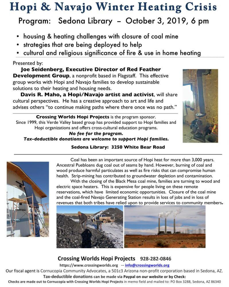 poster about Hopi and Navajo winter heat crisis with closure of coal mines