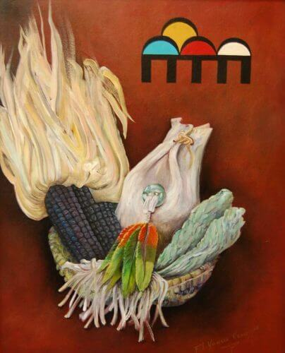 Painting of a Hopi basket with sacred objects such as prayer feathers illustrates the positive belief in healing for Mother Earth and her peoples.